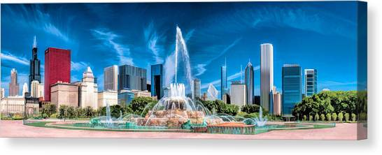 Buckingham Fountain Skyline Panorama Canvas Print