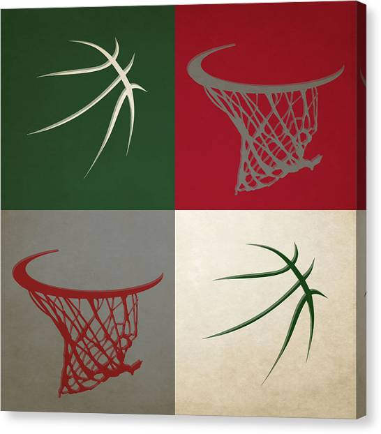 Milwaukee Bucks Canvas Print - Bucks Hoop And Ball by Joe Hamilton
