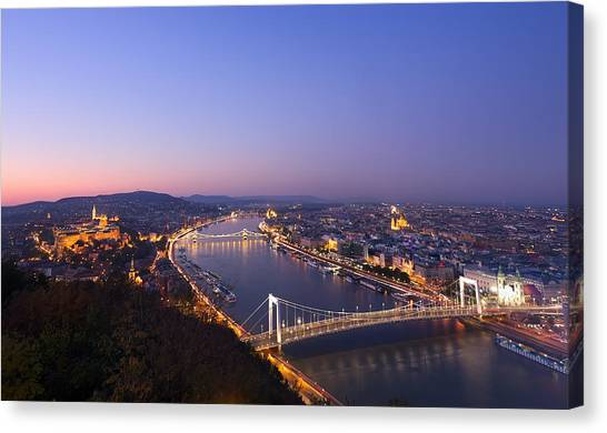 Budapest At Night Canvas Print by Ioan Panaite