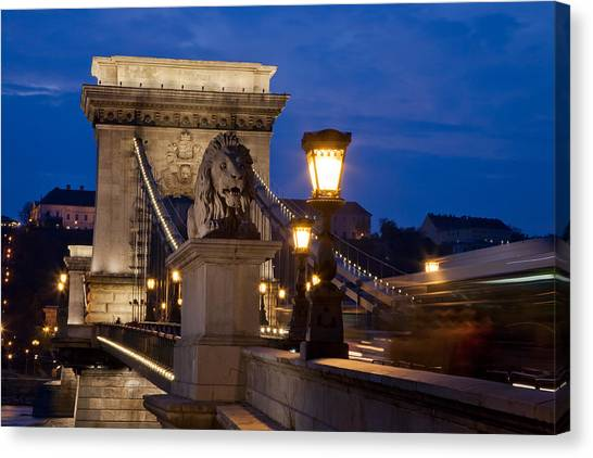 Budapest Bridge With Lion Canvas Print