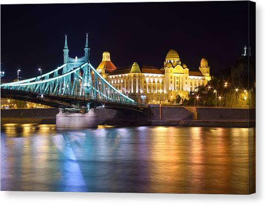 Budapest Night Bridge Canvas Print by Ioan Panaite