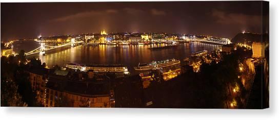 Budapest Night Panorama  Canvas Print by Ioan Panaite