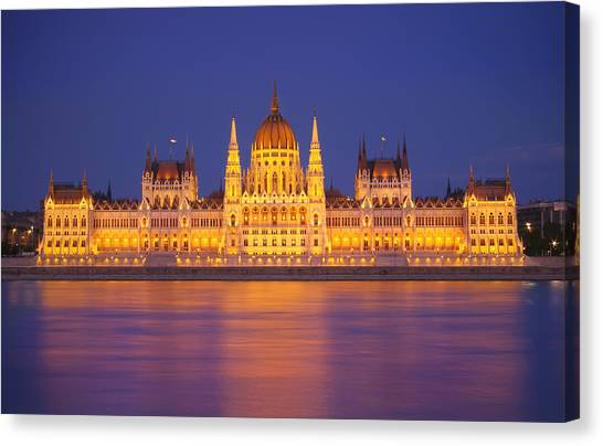 Budapest Parliament At Night Canvas Print by Ioan Panaite