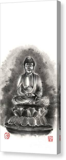 Buddha Canvas Print - Buddha Buddhist Sumi-e Tibetan Calligraphy Original Ink Painting Artwork by Mariusz Szmerdt