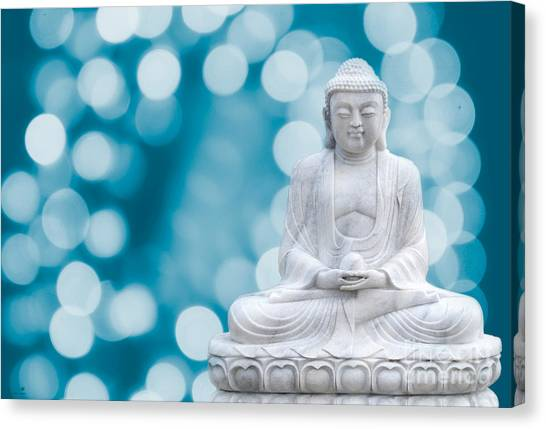 Buddha Enlightenment Blue Canvas Print