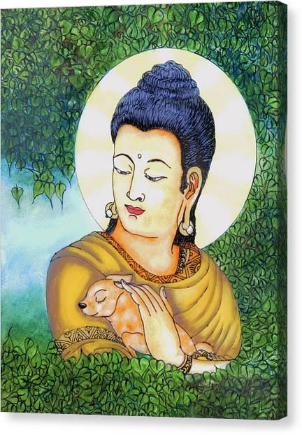 Buddha Green Canvas Print by Loganathan E