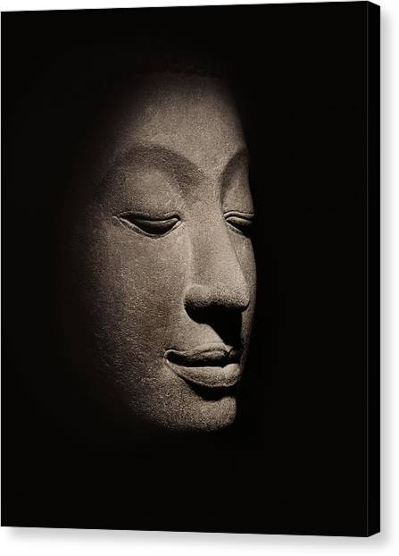 Buddha Canvas Print - Buddha Head From The Early Ayutthaya Period by Siamese School