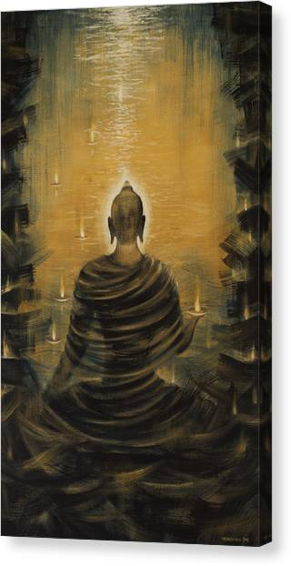 Celestial Canvas Print - Buddha. Nirvana Ocean by Vrindavan Das