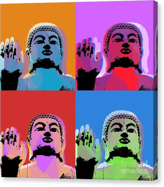 Buddha Pop Art - 4 Panels Canvas Print