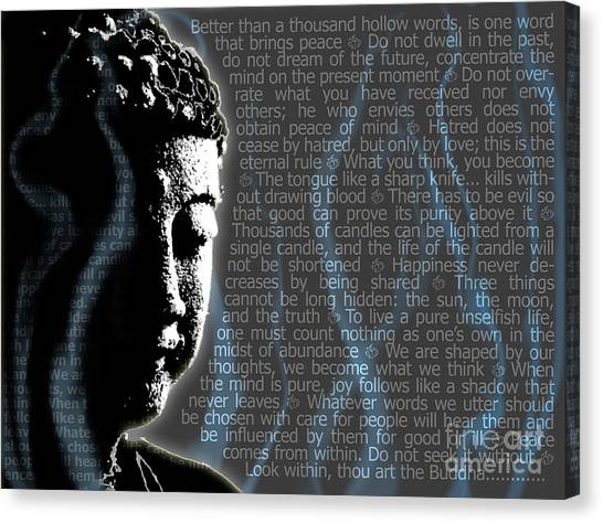 Canvas Print featuring the digital art Buddha Quotes by Sassan Filsoof