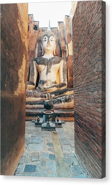 Buddha Statue In Sukhothai, Thailand Canvas Print
