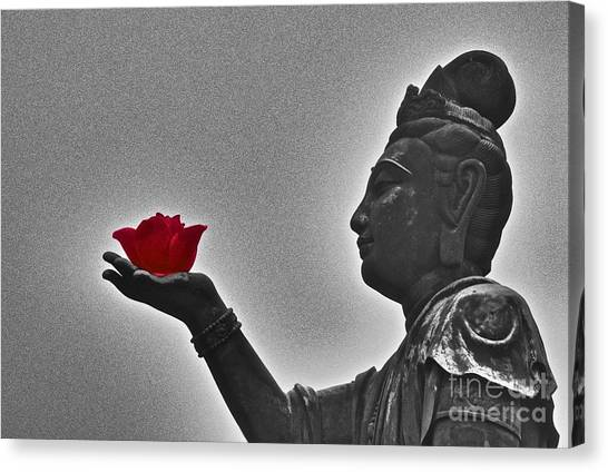 Buddha With Rose  Canvas Print