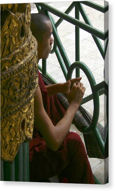 Buddhist Monk Leaning Against A Pillar Sule Pagoda Central Yangon Myanar Canvas Print by PIXELS  XPOSED Ralph A Ledergerber Photography