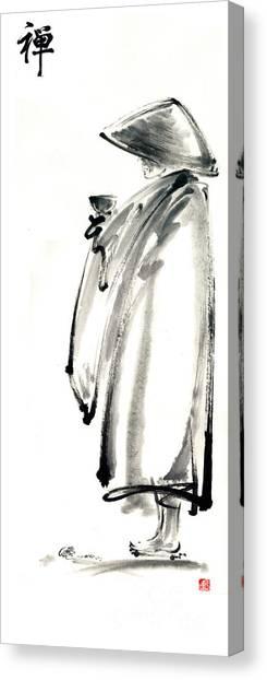 Buddhist Monk With A Bowl Zen Calligraphy Original Ink Painting Artwork Canvas Print by Mariusz Szmerdt