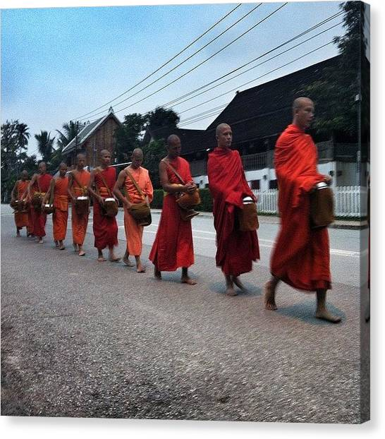 Law Enforcement Canvas Print - #buddhist #monks #sunrise #alms by Darren O' Dea