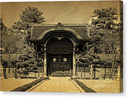 Buddhist Temple Gate In Early Spring Canvas Print