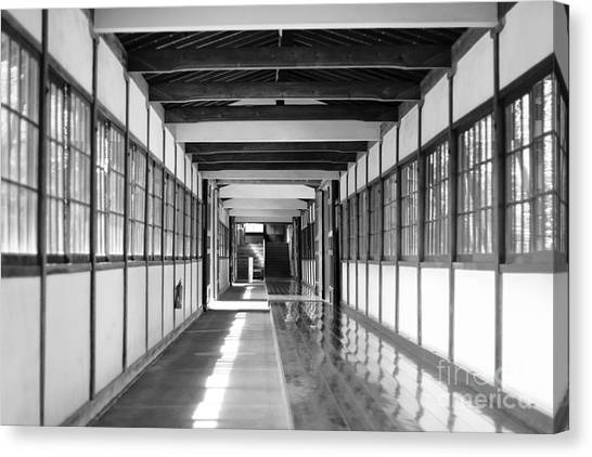 Buddhist Temple In Black And White - Passageway Canvas Print