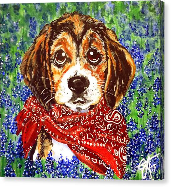 Buddy Dog Beagle Puppy Western Wildflowers Basset Hound  Canvas Print