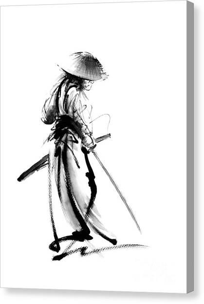 Samurai Canvas Print - Samurai With A Sword. Ronin - Lone Wolf. by Mariusz Szmerdt