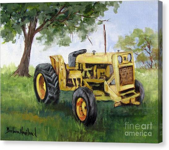 Bud's Yellow Tractor Canvas Print