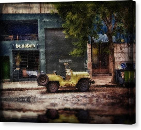 Buenos Aires Jeep Under The Rain Canvas Print