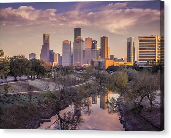 Sunset Canvas Print - Buffalo Bayou Reflections by David Morefield