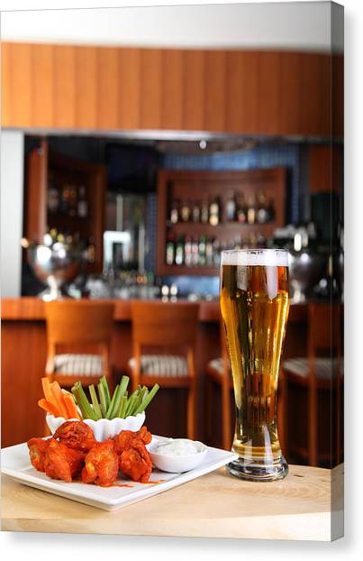 Ranch Dressing Canvas Print - Buffalo Chicken With Beer by Roberto Giobbi