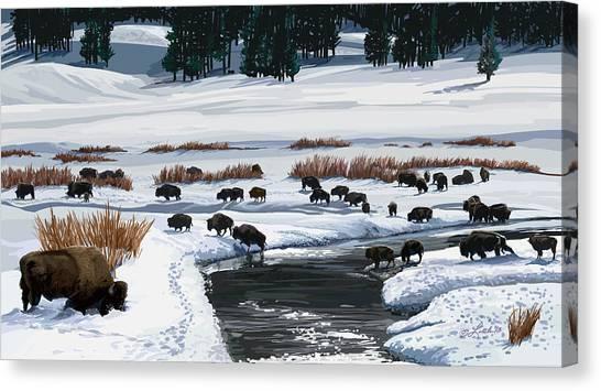 Buffalo Ford Winter Canvas Print