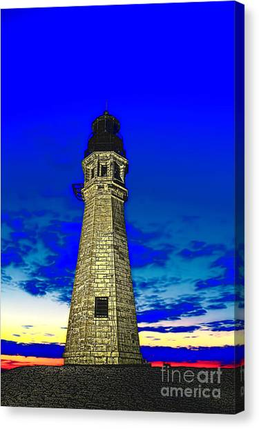 Buffalo Harbor Lighthouse At Sunset Canvas Print