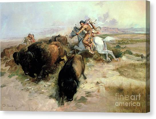 Buffaloes Canvas Print - Buffalo Hunt by Charles Marion Russell