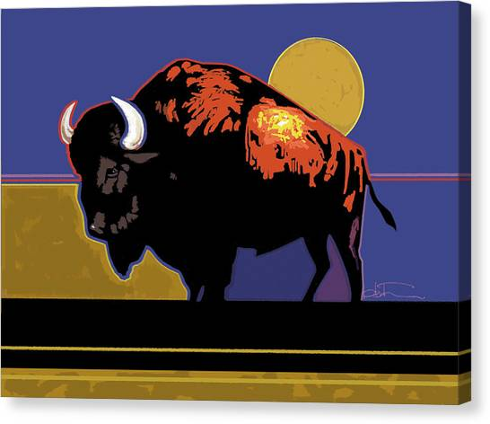 Bison Canvas Print - Buffalo Moon by R Mark Heath