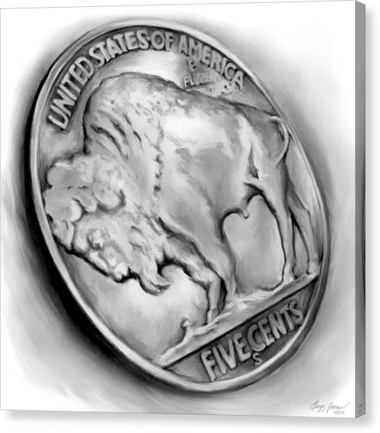 Coins Canvas Print - Buffalo Nickel 2 by Greg Joens