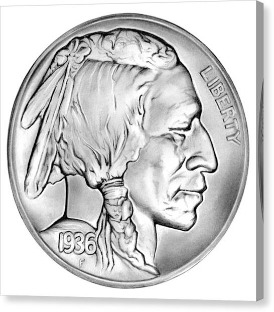 Coins Canvas Print - Buffalo Nickel by Greg Joens