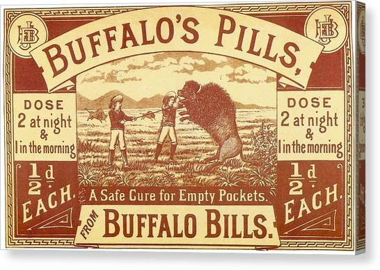Buffalo Bills Canvas Print - Buffalo's Pills Vintage Ad by Gianfranco Weiss
