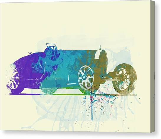 Type Canvas Print - Bugatti Type 35 R Watercolor by Naxart Studio