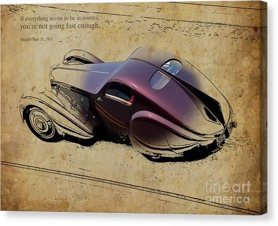 Violeta Canvas Print - Bugatti Type51 1931 Quote by Drawspots Illustrations