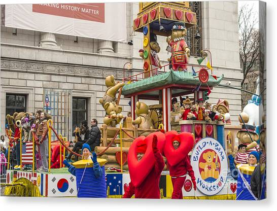 Macys Parade Canvas Print - Build-a-bear Workshop Float At Macy's Thanksgiving Day Parade by David Oppenheimer