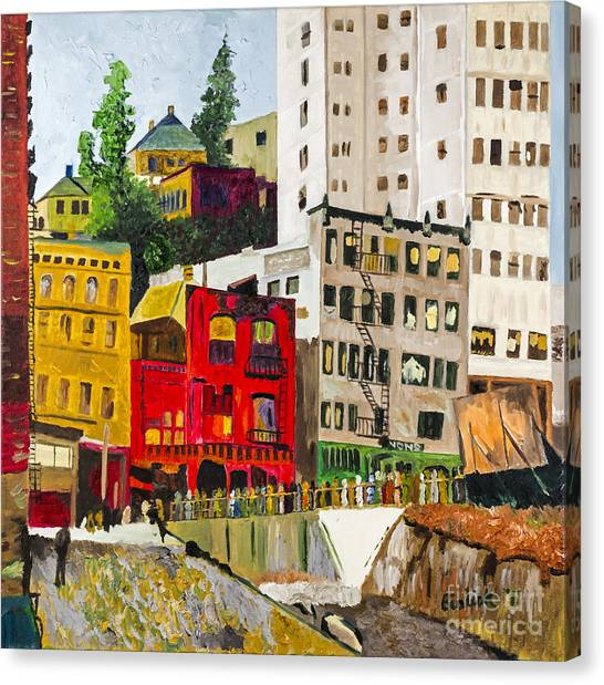 Building A City By Stan Bialick Canvas Print by Sheldon Kralstein