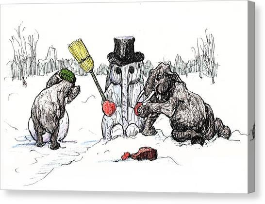 Building A Snow Elephant Canvas Print