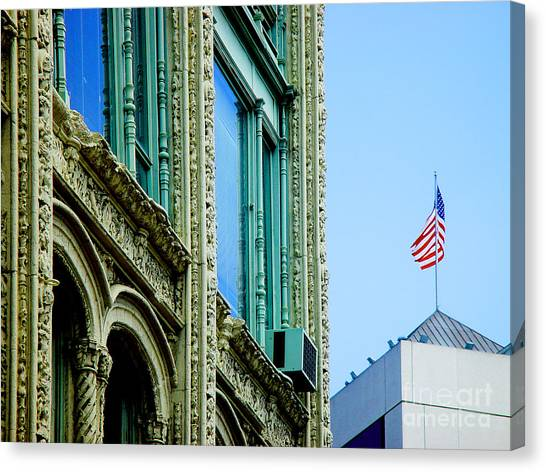 Building And Flag Canvas Print