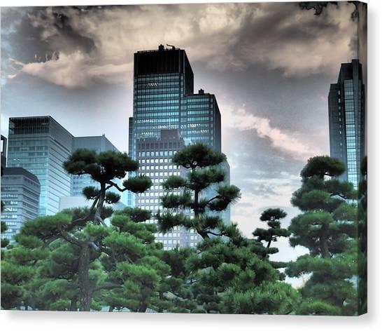 Tokyo Skyline Canvas Print - Building And Trees by Dewy Van Tol