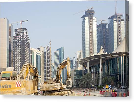 Backhoes Canvas Print - Building Doha's Commercial Heart by Paul Cowan