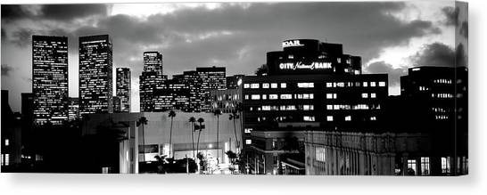 Beverly Hills Canvas Print - Building Lit Up At Night In A City by Panoramic Images