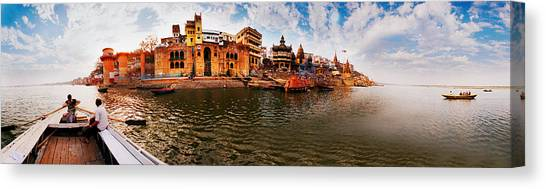 Ganges Canvas Print - Buildings At Riverbank Viewed by Panoramic Images