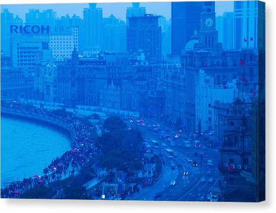 Bund Canvas Print - Buildings In A City At Dusk, The Bund by Panoramic Images