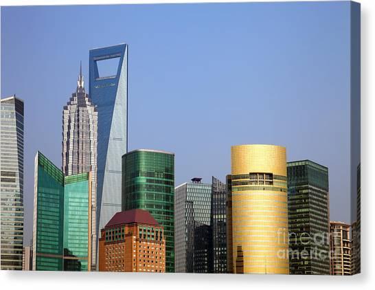 Shanghai Skyline Canvas Print - Buildings In Shanghai Pudong by Fototrav Print