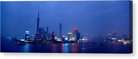 Shanghai Skyline Canvas Print - Buildings Lit Up At Dusk, Shanghai by Panoramic Images
