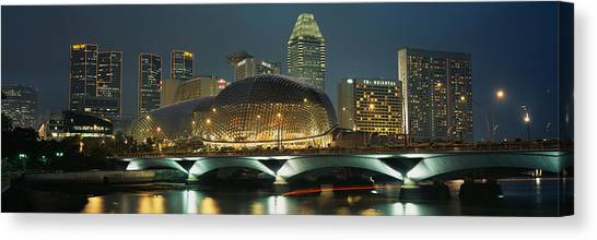 Singapore Skyline Canvas Print - Buildings Lit Up At Night, Esplanade by Panoramic Images