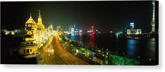 Bund Canvas Print - Buildings Lit Up At Night, The Bund by Panoramic Images