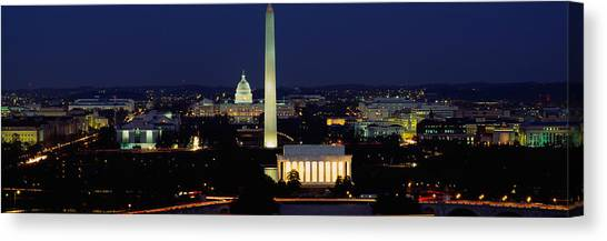 Washington Monument Canvas Print - Buildings Lit Up At Night, Washington by Panoramic Images